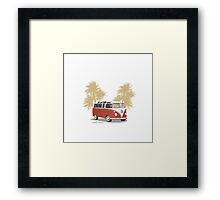 VW Bus 21 Window Samba Van Red Palms Framed Print