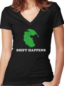 Pangea- Shift Happens Women's Fitted V-Neck T-Shirt