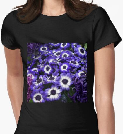 Purple + White African Daisies Womens Fitted T-Shirt