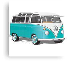 VW Bus T2 Teal White Canvas Print