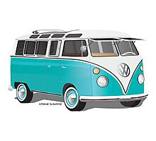 VW Bus T2 Teal White Photographic Print
