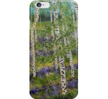 Spring Aspens, impressionism art, lavender flowers, home decor, wall art iPhone Case/Skin