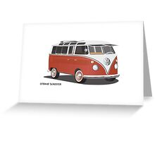 21 Window VW Bus Red/White with Surfboard Greeting Card