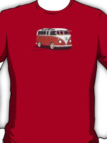 21 Window VW Bus Red/White with Surfboard T-Shirt