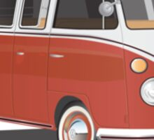 21 Window VW Bus Red/White with Surfboard Sticker