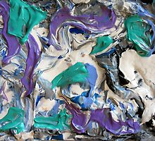 Abstract Aqua, Lavender, Gray and White Design, Contemporary Art by ShiningEyeArts