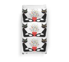 Two Cats With Flowers Duvet Cover