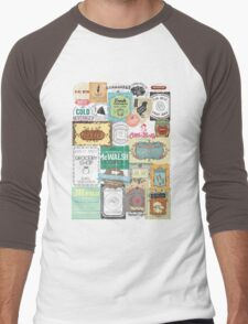 Vintage foodie collage food wine coffee tea restaurant Men's Baseball ¾ T-Shirt