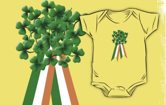 Large Shamrock on Tri-Colour Ribbon - St Patrick's Day by Orla Cahill