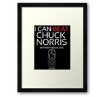 Beat Chuck Norris with Nokia 3310 white red Framed Print