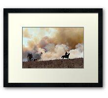 Kansas Rancher Starting a Controlled Burn Framed Print