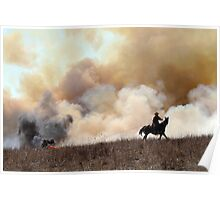 Kansas Rancher Starting a Controlled Burn Poster