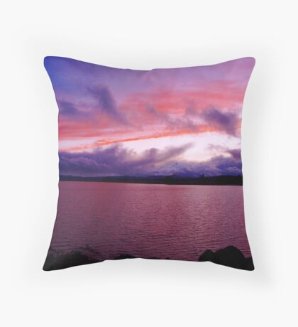 Red White & Blue Sunset in the USA Throw Pillow