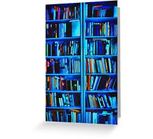 Blue Book Shelves Greeting Card