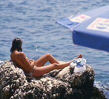 Sunbather near Kas, Turkey. by Peter Stephenson