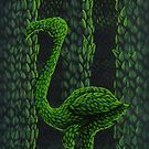 Flamingo Topiary Hedge (Laser Large Print) by Donna Huntriss