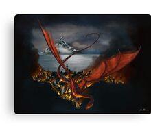 Smaug Terrorizes Laketown Canvas Print