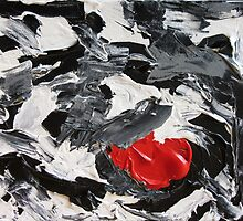 Abstract Gray, Black, White and Red Design, Contemporary Art by ShiningEyeArts