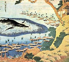 'Ocean Landscape and Whale' by Katsushika Hokusai (Reproduction) by Roz Abellera Art Gallery