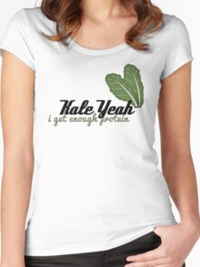 {Veg-Friendly T-Shirt} - Kale Yeah I Get Enough Protein Women's Fitted Scoop T-Shirt