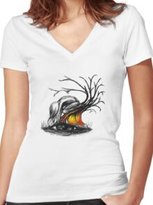 Gimme back my earth Women's Fitted V-Neck T-Shirt