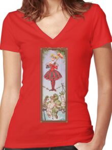 Haunted Arkham: Highwire Harley Women's Fitted V-Neck T-Shirt
