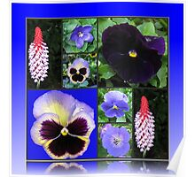 Blue of Summer - Flower Collage Poster
