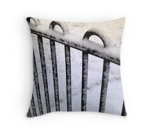 Snow Railing Throw Pillow