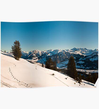 winter scene in swiss alps Poster