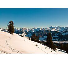 winter scene in swiss alps Photographic Print