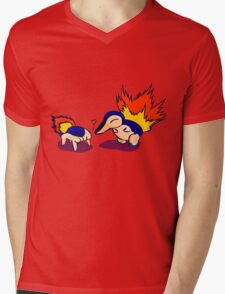 Pokemon Half-Life 2 Cyndaquil and Headcrab Playdate Mens V-Neck T-Shirt