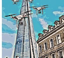 Drone swarm leaves the Shard nest! by TimConstable