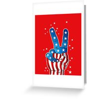 American Patriotic Victory Peace Hand Fingers Sign Greeting Card