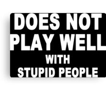 Does not play well with stupid people Funny Geek Nerd Canvas Print