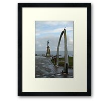 Captain James Cook,  and the whalebone arch. Framed Print