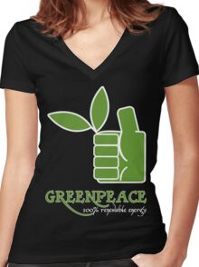 Greenpeace 100 Renewable Energy Funny Geek Nerd Women's Fitted V-Neck T-Shirt