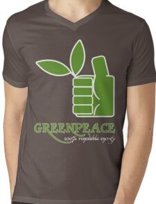 Greenpeace 100 Renewable Energy Funny Geek Nerd Mens V-Neck T-Shirt