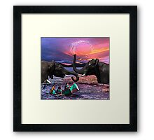 Fighting Elephants Justin Beck Picture 2015091 Framed Print