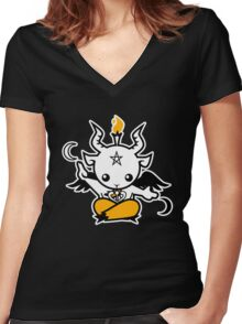 Baby Baphomet Women's Fitted V-Neck T-Shirt
