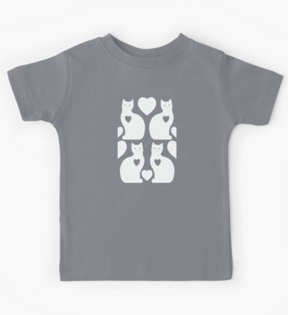 Cats and Hearts (Silver) Kids Tee
