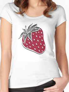 geometric strawberry Women's Fitted Scoop T-Shirt