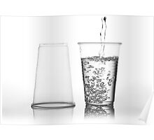 water into transparent expendable mug Poster