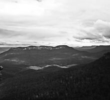 Blue Mountains in B&W by Evita