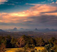 Glashhouse Mountains at Sunset by bidkev1