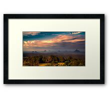 Glashhouse Mountains at Sunset Framed Print
