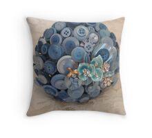 Something Blue: ButtonBelleBridal Bouquet Throw Pillow