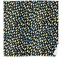 Rainy Day Pattern. Blue and yellow on black Poster