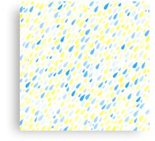 Rainy Day Pattern. Blue and yellow on white Canvas Print