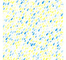 Rainy Day Pattern. Blue and yellow on white Photographic Print