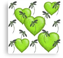 Hearts & Dragonflies Luscious Lime Canvas Print